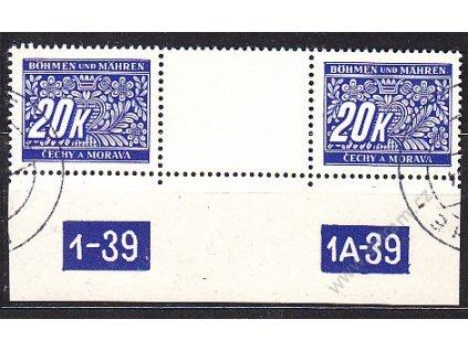20K modrá, meziarší s DČ 1-30-1A-39, Nr.DL14, razítkované
