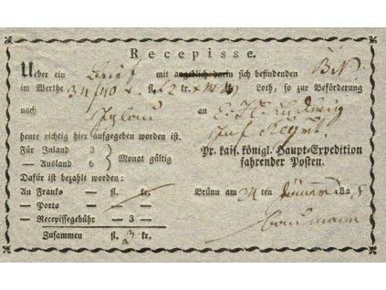 Recepis z roku 1828, lehké přehyby, slušný stav