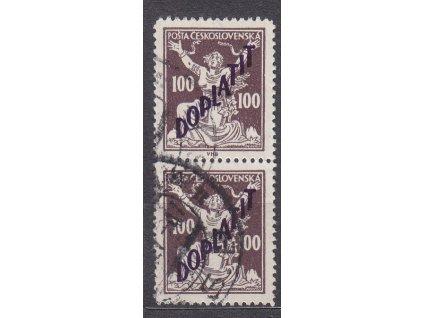100h hnědá, Řz.13 3/4, svislá 2páska, Nr.DL53B, razítkované