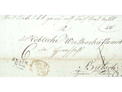 Brunn, Znaim, skládaný dopis z roku 1837