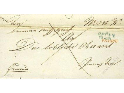 Brunn, modré razítko, červené Franco, dopis z roku 1847