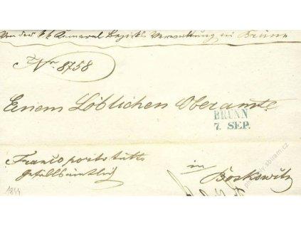 Brunn, modré razítko, dopis z roku 1844