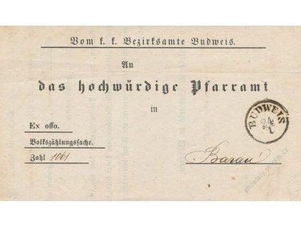 Budweis, skládaný dopis z roku 1858, stopy pošt. provozu