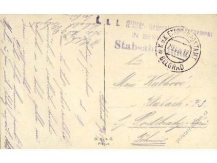 Belgrad c, pohlednice zasl. v roce 1917 do Čech