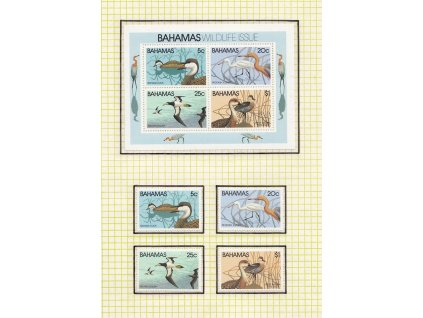 Bahamy, 1981, série + aršík Ptáci, MiNr.482-85, Bl.34, **