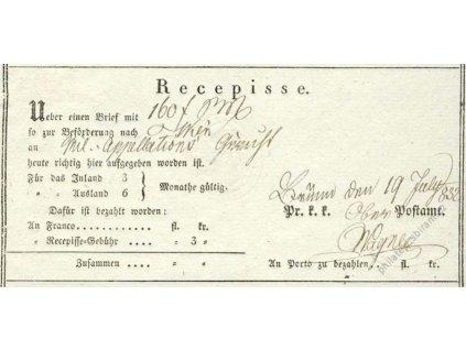 Recepis z roku 1832, lehké přehyby, slušný stav