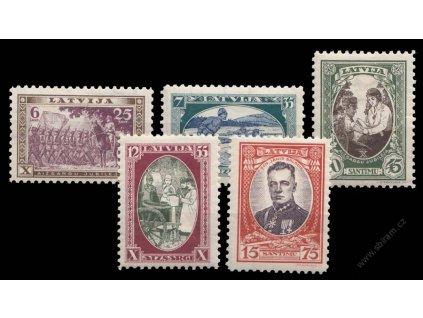 Latvija, 1932, 6-15S série, MiNr.198-202A, těžší *