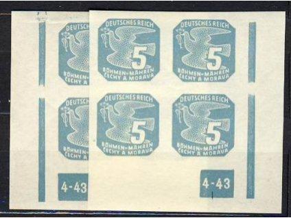 1943, 5h modrá, 4blok s DČ4-43, L+P, rám přerušen, **