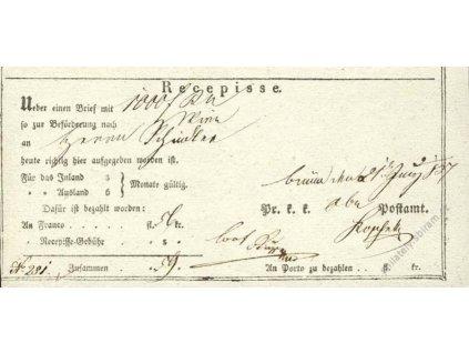Recepis z roku 1837, lehké přehyby, slušný stav