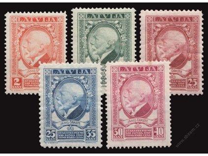Latvija, 1928, 1-30S série Čakste, MiNr.124-28, * po nálepce