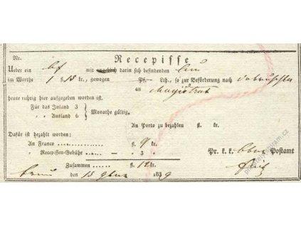 Recepis z roku 1839, lehké přehyby, slušný stav