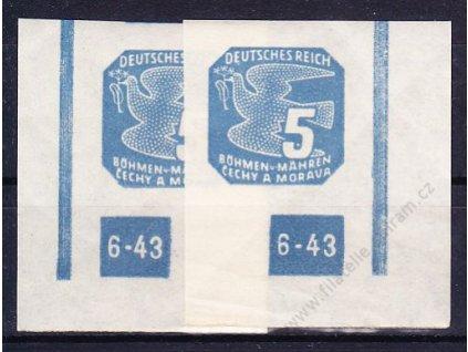 1943, 5h modrá, 2 roh. kusy s DČ 6-43, ochranný rám nepřerušen, Nr.NV11, **, lomy