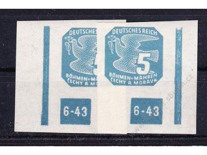 1943, 5h modrá, 2 roh. kusy s DČ 6-43, ochranný rám 1krát přerušen, Nr.NV11, **
