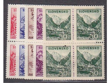 1944, 10-50h Tatranské, 4bloky, Nr.106-110, **