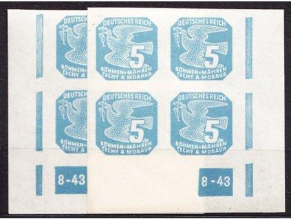 1943, 5h modrá, 2krát rohový čtyřblok s DČ 8-43, Nr.NV.11, **