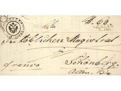 Brunn (modré) + červené FRANCO, skládaný dopis