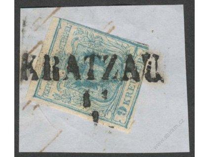 1850, 9Kr Znak, výstřižek, DR Kratzau, MiNr.5