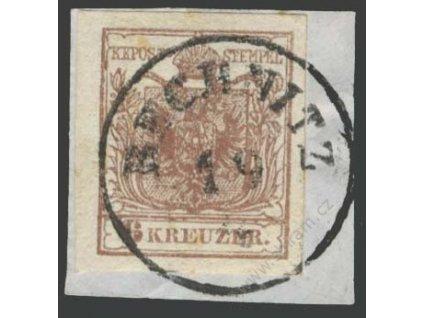 1850, 6Kr Znak, DR Bechnitz, MiNr.4, výstřižek, skvrnka