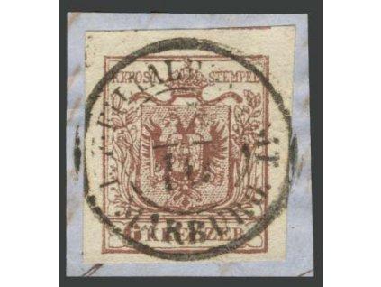 1850, 6Kr Znak, DR Marburg, MiNr.4, výstřižek