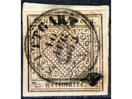 Wurttemberg, 1851, 9Kr černá/zelená, razítkované