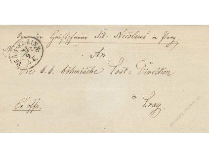 1852, Prag Kleins, skládaný dopis, stopy provozu