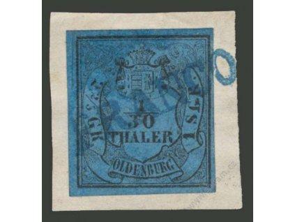 Oldenburg, 1852, 1/30Th modrá, výstřižek, razítkované