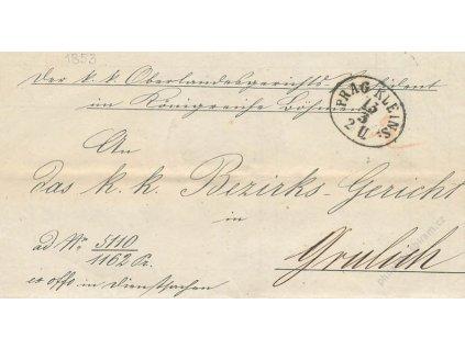 1853, Prag Kleins, skládaný dopis, stopy provozu