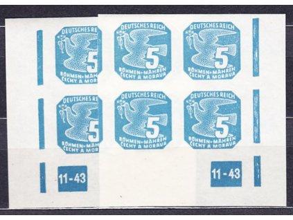 A-1943, 5h modrá, roh. 4blok s DČ 11-43 L + P, Nr.NV11, **
