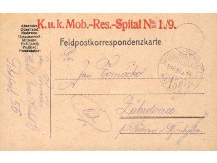 No.156, lístek PP, zasláno v roce 1915 do Čech