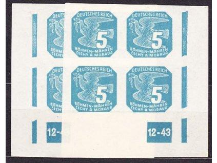 A-1943, 5h modrá, 2 roh. 4bloky s DČ 12-43, L+P, Nr.NV2, **