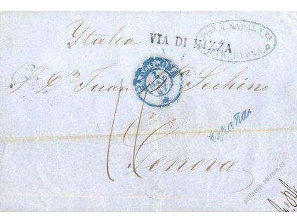 1857, modré razítko Barcelona + VIA DI NIZZA