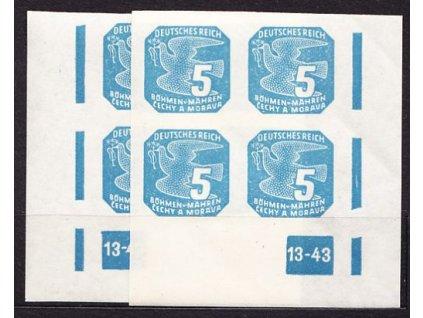 1943, 5h modrá, 2krát rohový čtyřblok s DČ 13-43, Nr.NV.11, **
