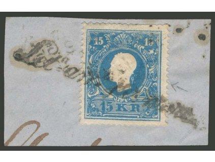 1858, 15Kr Franc Josef, typ I., výstřižek, italské razítko