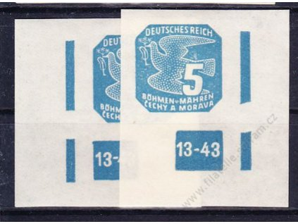 1943, 5h modrá, 2 roh. kusy s DČ 13-43, ochranný rám 2krát přerušen, Nr.NV11, **