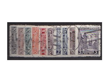 1928 30h-5Kč série Výročí ČSR, Nr.233-42, razítkované