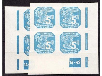 1943, 5h modrá, 2krát rohový čtyřblok s DČ 14-43, Nr.NV.11, **