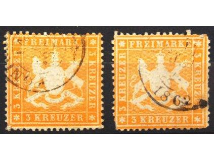 Wurttemberg, 1860/61, 3Kr Znak, razítkované