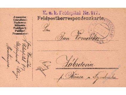 Cetinje c, lístek PP zasl. v roce 1917 do Čech