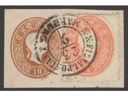 1861, výstřižek z celinové obálky, DR K.K.FILIALPOSTAMT
