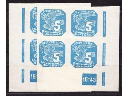 1943, 5h modrá, 2krát rohový čtyřblok s DČ 15-43, Nr.NV.11, **