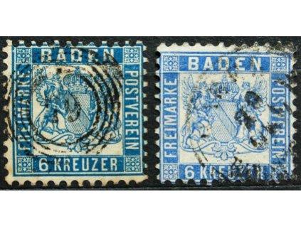 Baden, 1862, 6Kr Znak, 2 ks - odstíny barev
