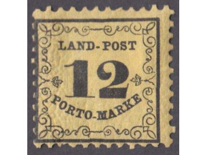 Baren, 1862, 12Kr Portomarken, MiNr.3, těžká *