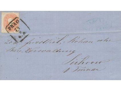 1862, DR Praha, skládaný firemní dopis, hezký kus