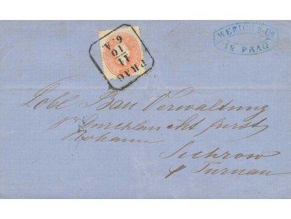 1862, DR Praha, skládaný firemní dopis, hledané