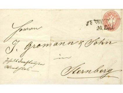 1863, DR Budweitz, skládaný dopis, 5Kr Orlíček