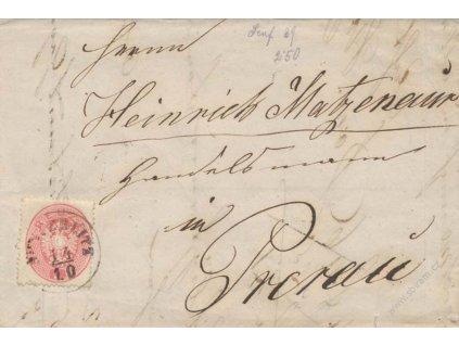 1863, DR Austerslitz, skládaný dopis zasl do Přerova