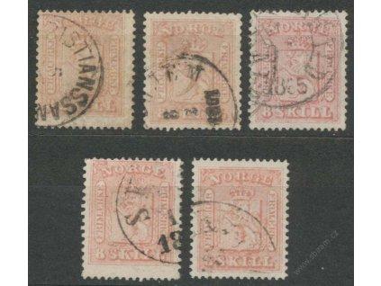 1863, 8Sk Znak, 5 ks - sestava odstínů, razítkované