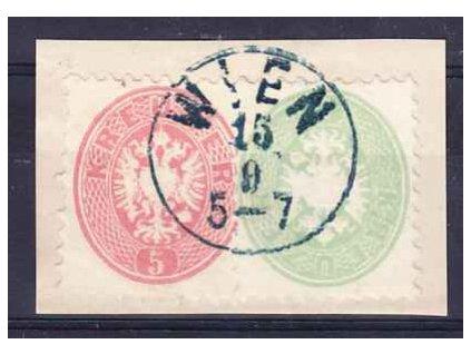 1864, výstřižek vyfr. zn. 3+5Kr Orlíček
