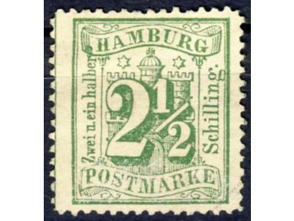 Hamburg, 1864, 2 1/2S zelená, Mi.75Euro, (*)