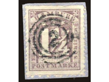 Hamburg, 1864, 1 1/4S fialová, MiNr.12, výstřižek